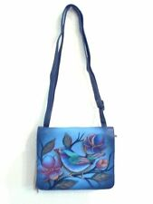NEW Anuschka Hand Painted Leather,Flap Over,Triple Comp,Cross Body,Lonesome Bird