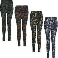 Women Thermal Leggings Fleece Lined Ladies Camouflage Print Bottoms One Size