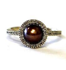 10k yellow gold .10ct VS1 G ladies diamond dyed pearl ring 2.9g estate vintage