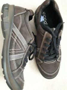 ECCO Women Brown Leather Walking Shoes Trainers size EU 36, UK 3-3.5