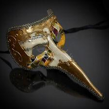 Medieval Plague Doctor Venetian Masquerade Ball Mask for Men M2768 - Gold/Yellow