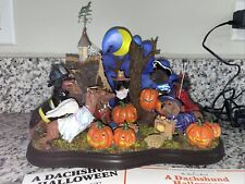 New listing Danbury Mint The Dachshund Halloween Lighted Lit Pumpkins Costumed Dogs Retired