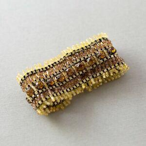 "Orange Rhinestone Seed Bead Beaded Wide Woven Artisan 7"" Bracelet"