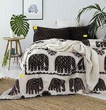 Black Elephant Print 600 TC Cotton Double Bed Sheet with 2 Pillow Covers Set