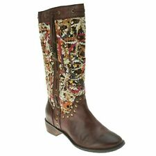 SPRING STEP TAPESTRY Women's Leather Cowboy Boots Brown Euro 40, US 8.5-9 M