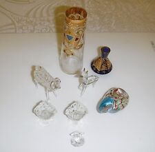 7 VINTAGE GLASS ORNAMENTS 2 VASES 1 PAPERWEIGHT 1 ANIMAL 2 ASTRO 1 SHELL PEARL