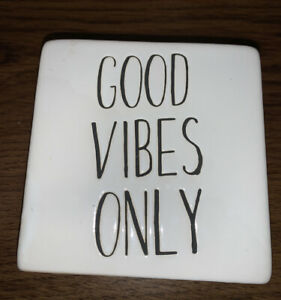 Rae Dunn Inspired Ceramic Box Sign Desktop Accessory good Vibes Only