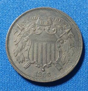 1866 2 Cent Piece.  Brown AU.   Original!!!