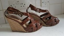 NEXT WOMENS BROWN MOC CROC LEATHER WEDGE BROWN SUMMER SANDALS SHOES SIZE UK 6 39