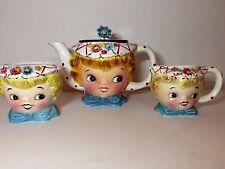 Vintage Lefton Miss Dainty Tea Pot  Sugar & Creamer - Japan