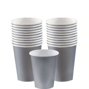 25 GREY PARTY PAPER CUPS 8/12oz COFFEE TEA CUPS FOR HOT COLD DRINKS WITH LIDS