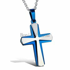 Men's Women's Blue Silver Stainless Steel Cross Pendant Necklace Christmas Gifts