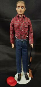VTG Ken Doll 1960 MCMLX Fuzzy Flocked Hair Goin' Hunting Hunter Outfit Barbie A+