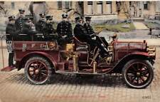 BROCKTON, MA, THE FLYING SQUADRON, 8 FIRE DEPT MEN POSE IN THEIR CAR c 1907-14