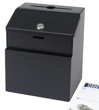 Black metal suggestions charity boxes Vote box bulletin box. With lock and 2 key