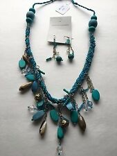 Necklace and Earrings Set in Blue Fashion Jewelry Handcrafted Braided w Shells