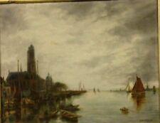 tableaux huile sur toile , vue de port . signée L - Britugues . XX siècle .