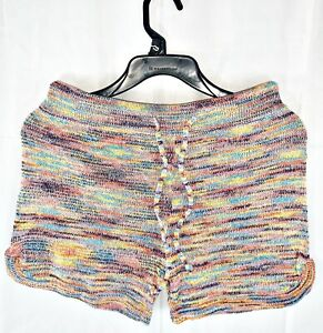 Turning Point Multi-Colored Knitted Drawstring Shorts, Medium