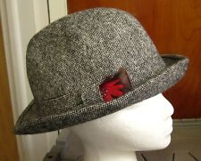 29aeafacbbd HARRODS OF LONDON vtg import gray fedora hat 1980s wool UK w  feather size 7