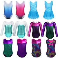 Girls Kids Ballet Dance Gymnastics Leotards Dancewear Sparkle Unitard Bodysuit