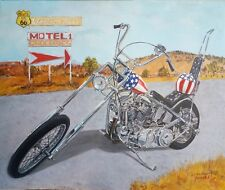 Original acrylic painting on canvas Harley Davidson chopper Easy Rider Route 66