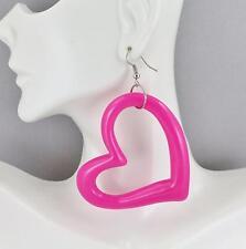"Pink heart earrings plastic lightweight dangle cutout disc outline 3 1/8"" long"