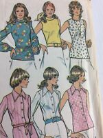 1973 McCalls 3550 Vintage Sewing Pattern Womens Blouses Size 12 Bust 34
