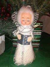 Vintage Cotton Spun Silver Angel Holding Candle Tree Topper Figurine Rubber Face