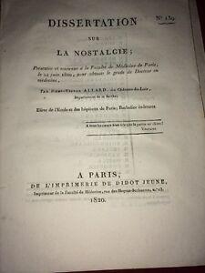 DISSERTATION SUR LA NOSTALGIE, 1820.