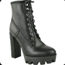Women's Ladies Black Platform Heels Mid Calf Biker Goth Boots, UK Size 6 EU 39