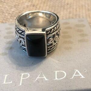 SILPADA R1096 Black Onyx Filigree Scroll Sterling Silver Wide Band Ring Size 8