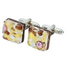 Square Cufflinks - Purple Gold GlassOfVenice Murano Glass Venetian Classic