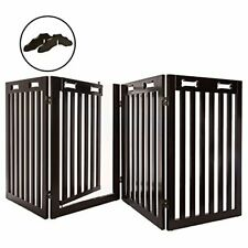 """New listing Arf Pets Free Standing Wood Dog Gate with Walk Through Door Expands Up to 80""""."""