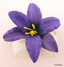 "3.5"" Deep Purple Lily Silk Flower Hair Comb,Pin Up,Updo,Rockabilly"