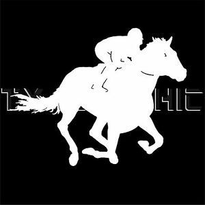 HORSE RACING VINYL STICKER DECAL  JOCKEY RIDING HORSE STICKER RUNNING GALLOPPING