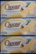 3 X Choceur German White Chocolate Coconut Crunch Bars. 3 Pack, 1/2 lb Bars