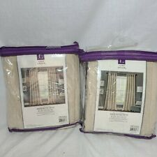 4 Pk Burlap Knotted Tab Top Window Curtain Panels Dark Linen Pair 45X84 Set New