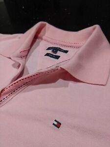 TOMMY HILFIGER Ladies Designer Pink L Stretchy Short Sleeve Polo T SuperC🤩MFY