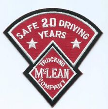McLean Trucking Company 20 year safe driving driver patch 3-3/4 X 4 #1322
