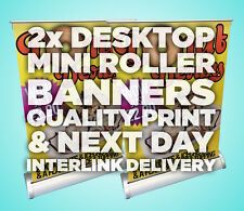 2x A3 Desktop Mini Roller Banners PRINTED IN FULL COLOUR ***INCLUDES DELIVERY***