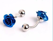 High Quality 3D Blue Rose Cufflinks silver Colour Cuff links Flower Roses BLU