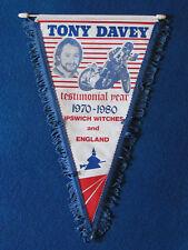 Vintage Speedway Pennant - Tony Davey Testimonial Year - Ipswich Witches - 1980