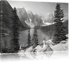Morrena Lake Canadiense Montañas Arte Carbón Efecto Foto en Lienzo