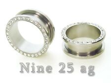 3/4 INCH GEM FLESH TUNNELS w/stones earlet plugs PIMP
