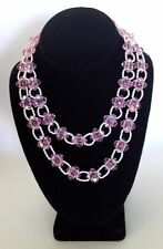 Pink Beads Choker Strand Necklace 1950's Signed Vendome Faux Pearls Glass