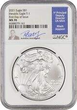 🔥✅ 2021 Silver Eagle Business Strike Type 1 NGC MS70 FDOI Jepson Signed! ✅🔥