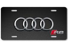 AUDI R8 Aluminum Carbon-Fiber Metal Car Auto License Plate Tag Abstract Art New