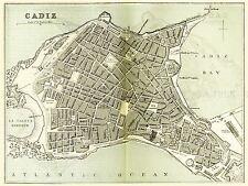 Mapa Antiguo O'shea 1895 Cádiz ciudad plan grandes réplica cartel impresión pam1153