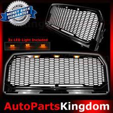 15-17 Ford F150 Raptor Gloss Black Front Hood Mesh Grille+Shell+Amber LED Light