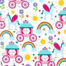 Michael Miller Rainbows & Unicorns Print 100% Cotton Carridges Stars Flowers
